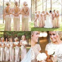 Wholesale Wedding Short Dress Cheap Price - Wholesale Price Garden Golden Sequin Long Bridesmaid Dresses with Short Sleeves Jewel Neck Cheap Bridesmaid Gowns Wedding Guest Dresses