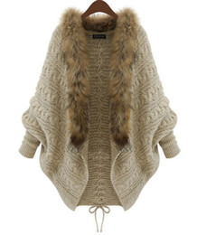Wholesale Poncho Knitwear - Winter New Cardigan Poncho Fur Collar Outerwear Women Sweater Knitted Brand Casual Knitwear Jacket Free Shipping