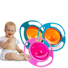 Wholesale Baby Spill Rotating Bowl - Baby Feeding Dishes Cute Toy Baby Gyro Bowl Universal 360 Rotate Spill-Proof Dishes Children's Baby Tableware