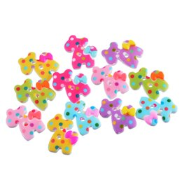 Wholesale Clothing Patterns Sewing - Kimter Colorful Dog Dot Pattern Acrylic Buttons With 2 Holes 2.6x2.3cm For Sewing Scrapbooking Clothing Decoration Pack Of 10pcs I403L