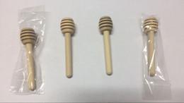 Mini favori di nozze di miele online-8cm MINI Legno Miele Dippers Cucchiaio Muddler Stirring Rod Bomboniere Cucina Regalo Pacchetto OPP