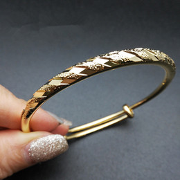 Yüksek Kalite Gelin Düğün Bilezik 24 K Sarı Altın Kaplama Parlak Kadınlar için Bilezik Bilezik Kızlar Kadınlar Düğün Parti için cheap gold bracelets 24k for woman nereden kadın için altın bilezik 24k tedarikçiler