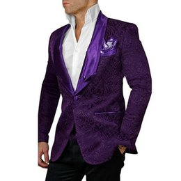 Wholesale Purple Pinstripe Pants - Fashionable Groom Tuxedos Groomsmen One Button Purple Shawl Lapel Best Man Suit Wedding Men's Blazer Suits (Jacket+Pants)