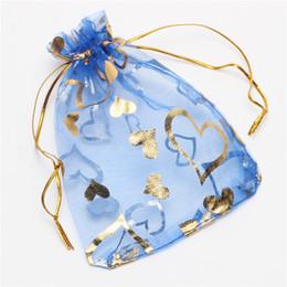 Wholesale Gold Organza Favor Bags - Gold Bronzing Love Heart Organza Jewelry Pouches Gift Bag Wedding Favor Bags 7*9cm  9*12cm 13*18cm 17*23cm
