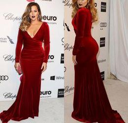 Wholesale Khloe Kardashian Evening Dresses - Khloe Kardashian 2017 Oscar Formal Evening Celebrity Gowns Sexy Wine Red Velvet Mermaid Long Sleeves Evening Dresses Sweep Train Prom Gowns