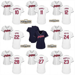 Wholesale Michael Women - 2017 Postseason Patch womens Cleveland Indians 12 Francisco Lindor 11 Jose Ramirez 22 Jason Kipnis 23 Michael Brantley Baseball Jerseys