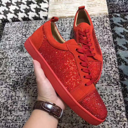 Wholesale Strass Crystal Dresses - Luxurious Designer Strass Lou Junior Red Bottom Sneakers Shoes Crystals Wedding Party Dress Casual Shoes Autumn Winter