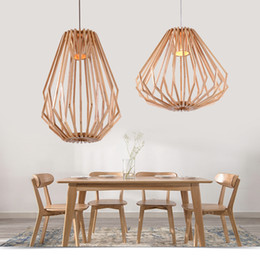 Wholesale Circular Light Chandelier - Solid Wooden Chandeliers Retro Diamond Shape Minimalist Oval Indoor Lighting Circular Vintage Study Lamps Free shipping LLFA