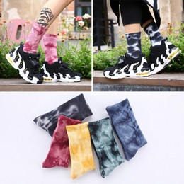 Wholesale Vintage Sport Socks - Autumn and Winter Vintage National Wind Towel Bottom Men and Women Sports Socks Street Harajuku 5 Color Tie dye Couples socks