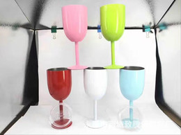 Wholesale Goblet Metal - Order today Ship today!2017 hot 10oz metal red wine glass 9 colors insulated cooler stianless steel goblet with lids Tumbler cup
