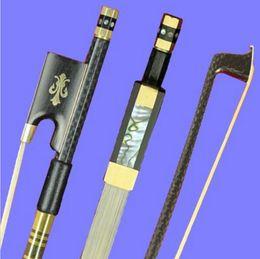 Wholesale Horse Bows - Wholesale- PRO New light carbon fiber 4 4 violin bow nickel silver parts white horse hair