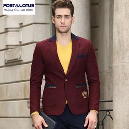 Wholesale Sleeve Lapel Lotus - Wholesale- Port&Lotus Blazer Men New Arrival With Stitching Color Single Button Fashion Casual Suit Notch Lapel Blazer Masculino 010