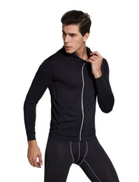 Wholesale Mens Black Hoodie Wholesale - Vihir Mens Quick Dry Sports Tights Hoodies Long Sleeve Coat Jacket Running Training Fitness clothing Suitable for Summer Spring