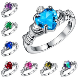 Wholesale Cz Promise Rings - Elegant Heart Cut Rainbow Opal Claddagh Ring Fashion White CZ Wedding Jewelry Filled Engagement Promise Rings