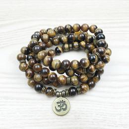 Wholesale Beaded Stone Necklaces - Fashion Tiger Eye 108 Mala Bracelet Om Buddha Necklace Yoga Bracelet 4 Wrap Natural Stone Bracelet NS1148