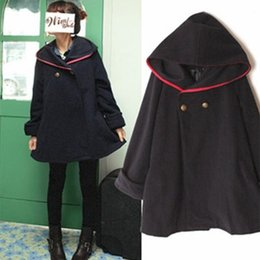 Wholesale Riding Outerwear - 2017 Autumn preppy style wool cloak woolen coat outerwear hooded Little Red Riding Hood COS cape style loose long blends women