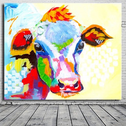 Wholesale High Quality Wall Paintings - Framed Colorful Cow,Pure Hand Painted Abstract Modern Wall Decor Pop Cartoon Animal Art Oil Painting On High Quality Canvas.Multi sizes C053