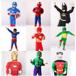 Wholesale Teenage Spiderman Costume - Halloween Costume For Kids Captain American Spiderman Superman Robin The Hulk The Flash Muscle Cosplay Costume Avengers Costume