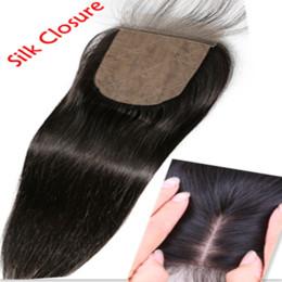 Wholesale Hair Silk Products - 8A Brazilian virgin hair Human Hair Straight Silk Base Closures Bleached Knots Unprocessed Hair Silk closure Products silk top sillk closure