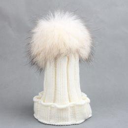 30 Adet / grup Unisex Çocuk örme büyük şapka ile örme şapka 15 CM kış sıcak 1-6years eski çocuklar için Tığ caps nereden kürk şapkaları tedarikçiler