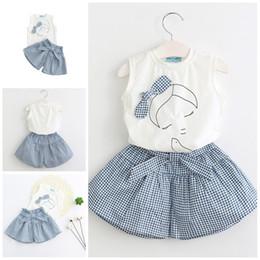 Wholesale Girls Kids Dress Top Skirt - Girls Dress 2017 Summer Skirt Set 2PCS Baby Clothes White Sleeveless Bowknot T-shirts Tops Striated Pantskirt Kids Clothing XY502