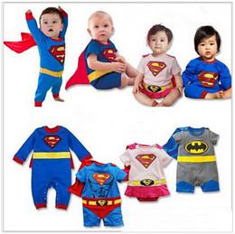 Wholesale Boys Superman Halloween Costumes - DHL 2017 New Cartoon Cotton Romper Kids Boys Clothes Jumpsuit Batman Baby Boy Rompers Superman Baby Girl Romper Baby Costume ROB55
