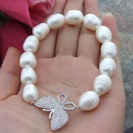 """Wholesale Rice Butterflies - 8"""" 10x13mm White Rice Freshwater Pearl Bracelet Butterfly Cz Connector"""