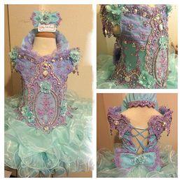 Luz céu azul com arco lace up beading gargantilha alta meninas cupcake little flower pageant festa pageant vestidos vestidos júnior de