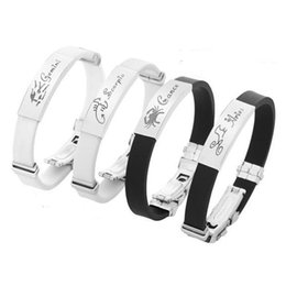 Wholesale 12 zodiac bracelet - 12 Zodiac Silicone Bangle Cuff Stainless Steel Constellation Tag Charms Bracelets Wristband for Men Women Fashion Jewelry DROP SHIP 162473
