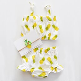 Wholesale Girl Swimsuits Cute Bikinis - Baby girls cute bikni 2pc set halterneck top+shorts pineapple dots floral swimwear suits infants swimsuit beach clothing for 1-5T