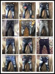 Wholesale Cowboy Brands - High Fashion DSQ2 Classic Jeans Men Runway Biker Skinny Slim Denim Trousers Homme D2 Cowboy Famous Brand Zipper Designer DSQ Mens Pants