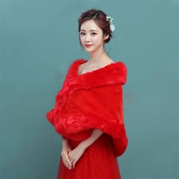 Wholesale Coat Dress Red Wool - New Wedding Dress In The Spring And Autumn Winter Wool Shawls Bride Wedding Dress Accessories With Thick Fur Shawl Red Coat