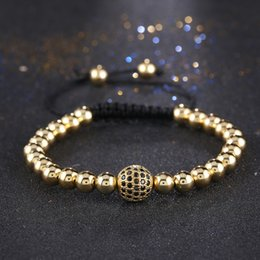 Wholesale Crystal Macrame Beaded Bracelet - Wholesale-New Arrival Gold Plated Micro Pave Cubic Zirconia Beaded Bracelets for Men Braiding Macrame Copper Bead Crystal Bangles