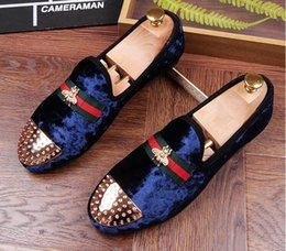 Wholesale Homecoming Dress New - New luxury Designer Men metal head Rivet velvet Shoes Loafer Male Party dress Homecoming wedding moccasins shoes Sapato Social Masculino