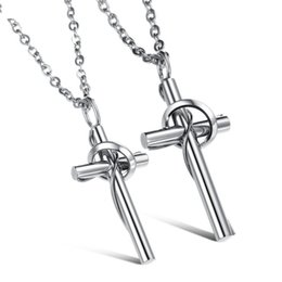 Wholesale Titanium Necklace For Couples - hot sale stainless steel jewelry fashion Non-allergenic anti rust titanium steel cross lover couple pendant necklace for men woman