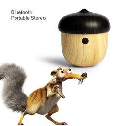 Wholesale Unique Usb - J2 portable wireless speaker Mini bluetooth wood Speaker Cute Wooden Nut Shape Unique Design Loudspeaker For Phone s8 Travel