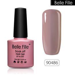Wholesale Gel Fingernail Polish - Wholesale- BELLE FILLE UV Nail Gel Polish Soak Off salmon pink nude color Professional vernis semi permanent Nail Art fingernail polish