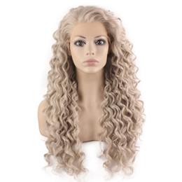 Parrucca anteriore in pizzo capelli ricci lunghi biondo biondo resistente al calore da parrucca lunga bionda del merletto fornitori