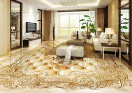 Wholesale Rose Murals - 3d floor wallpaper Marble parquet rose wallpapers for living room customize 3d stereoscopic 3d floor murals wallpaper