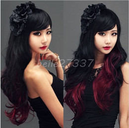Wholesale Long Black Curly Cosplay Wig - 100% New High Quality Fashion Picture full lace wigs Fashion Lady Black+Red Cosplay Party Wigs Womens Long Curly Wavy Full Hair Wigs