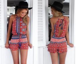 Wholesale Short Pant Jumpsuits For Women - 2016 Summer print casual trousers pants cotton beach rompers sexy jumpsuits for women Elegant jumpsuits fashion women set1514#