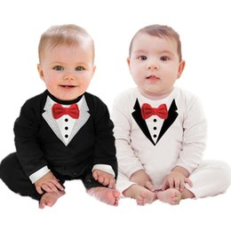 Wholesale Baby Gentleman Spring - Wholesale Boys Baby Gentleman Bodysuit Cotton White Black Babies Rompers Bow French Terry Onesies Newborn Romper Toddler Infant Clothes