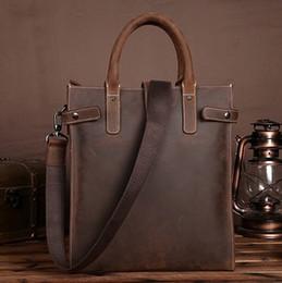 Wholesale Shoulder Tablet - Men Vintage Handbag Crazy Horse Genuine Leather Business Tote Briefcase Men Tablet PC Bag Famous Brand Messenger Shoulder Bags