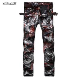 Club jeans männer online-Großhandels- Art und Weise Mens Floral Printed Jeans Hosen Slim Fit Hip Hop Gemalt Denim Jogger Man Club Wear Persönlichkeit Jeans Hosen Straight
