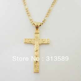"Wholesale Gps Pendant - Wholesale-Free Shipping Min order 10$ 18K YELLOW GOLD GP 24"" FIGARO NECKLACE&JESUS CROSS WITH WORD INRI PENDANT Great Gift Money Maker"