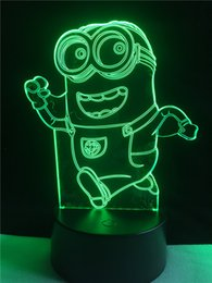 Wholesale Wholesale Minion Lamps - 2PC Originality Minions 3D Visual Night Light Touch Button 7 Colors Change LED Table Lamp Gift Mix Order Custom Football Baseball Fan Light