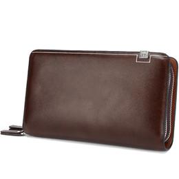 Wholesale Designers Mens Bags - Luxury Wallets Double Zipper Leather Male Purse Business Men Long Wallet Designer Brand Mens Clutch Handy Bag carteira Masculina