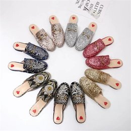 Wholesale Women Flat Bling Shoes - 2017 Luxury Brand Princetown Flash Slippers Women Flat Mules Casual Shoes Fashion Bling Bling Scuffs Slippers Summer Autumn New S03