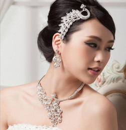 Wholesale Wholesales Rhinestones Studs - Full Rhinestone Peacock Bridal Jewelry Set Silver Golden Crystal Studs Earring Necklace Set Women Wedding Party Jewelry