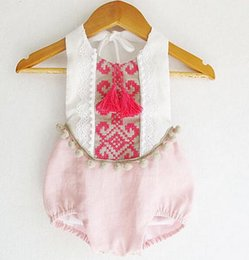 Wholesale Infants Suspenders - Baby romper Newborn Girls pompon embroidered tassel shorts Romper Infant cotton lace-up suspender jumpsuit children Bodysuit clothing A0332